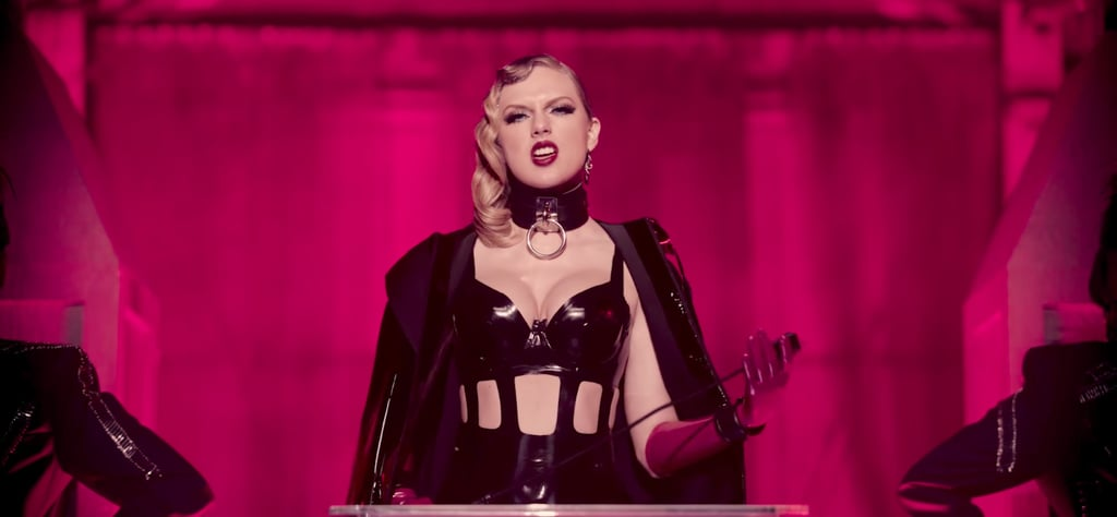 """At the 2017 MTV Video Music Awards, Taylor Swift premiered the highly anticipated music video for her new single, """"Look What You Made Me Do."""" In the song, the 27-year-old singer laments the loss of her former self as she takes on a dark new persona. Taylor's beauty looks throughout the video made that message loud and clear.  In lieu of her signature beauty look, Taylor experimented with some pretty daring trends. She ditched her laidback shag haircut for glamorous waves, a high ponytail, and several extreme stick-straight looks. For her makeup, Taylor went truly over-the-top, trading her retro cat eye for smoldering after-dark eyes. Though she still wore plenty of red lipstick in the video, she replaced her usual classic matte one for a sexy glossy one with a latex-like finish. To match, Taylor wore super sharp stiletto nails.  At the peak of the song, Taylor dramatically answers the phone and says that she, Taylor, can't come to the phone right now because """"she's dead."""" Every detail of the song's corresponding video is proof of that — especially her hair and makeup. Ahead, analyse every little detail with close-up shots from the video.       Related:                                                                                                           See Every Stunning Beauty Look on the 2017 MTV VMAs Red Carpet"""