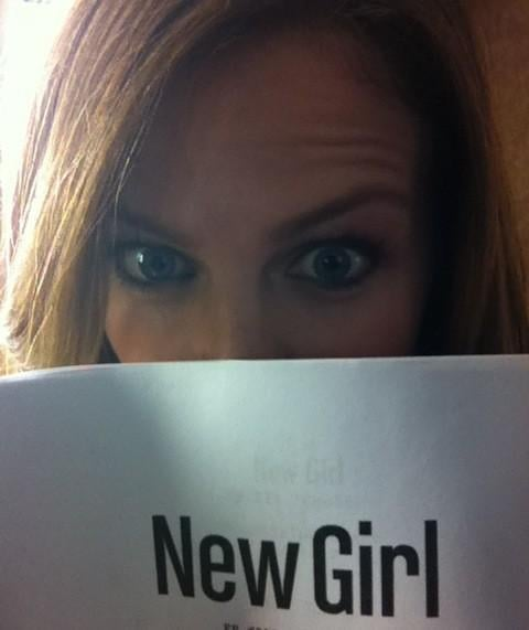 Brooklyn Decker shared a photo while reading a New Girl script. Source: Twitter user BrooklynDecker