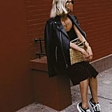 Wear Your Leather Jacket Over a Slip Dress