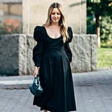 My Puffy-Sleeve Outfit: A Dress, Heels, a Bag, and Earrings