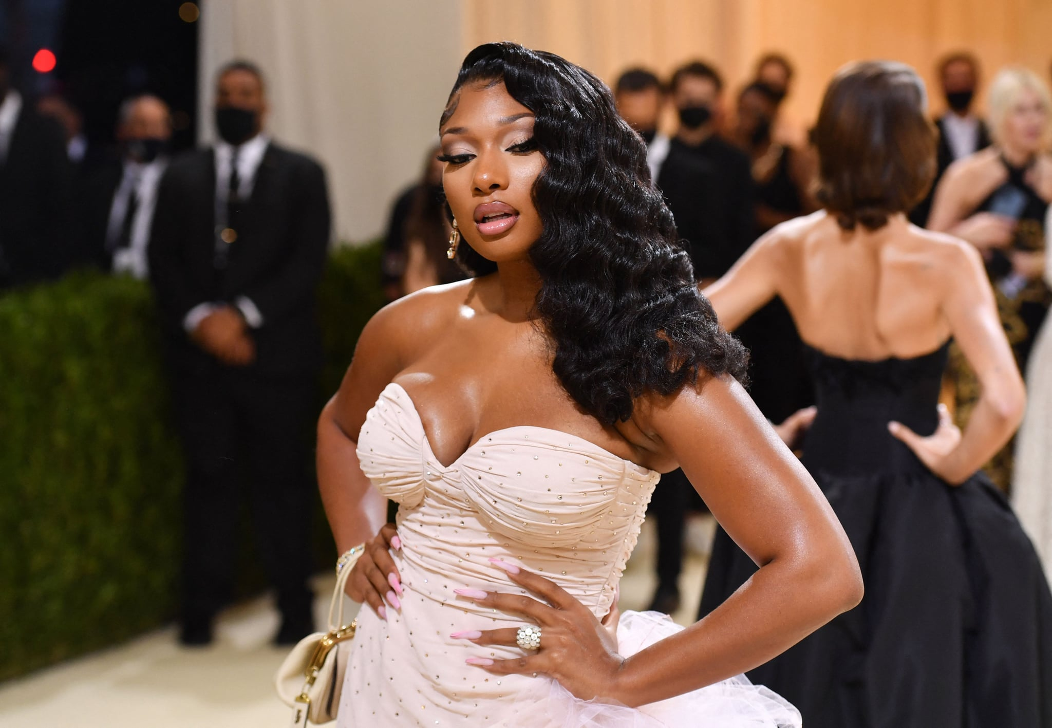 US rapper Megan Thee Stallion arrives for the 2021 Met Gala at the Metropolitan Museum of Art on September 13, 2021 in New York. - This year's Met Gala has a distinctively youthful imprint, hosted by singer Billie Eilish, actor Timothee Chalamet, poet Amanda Gorman and tennis star Naomi Osaka, none of them older than 25. The 2021 theme is