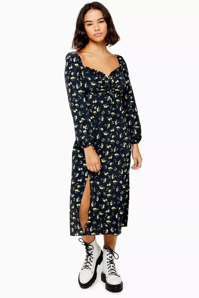 Topshop Floral Print Square Neck Midi Dress