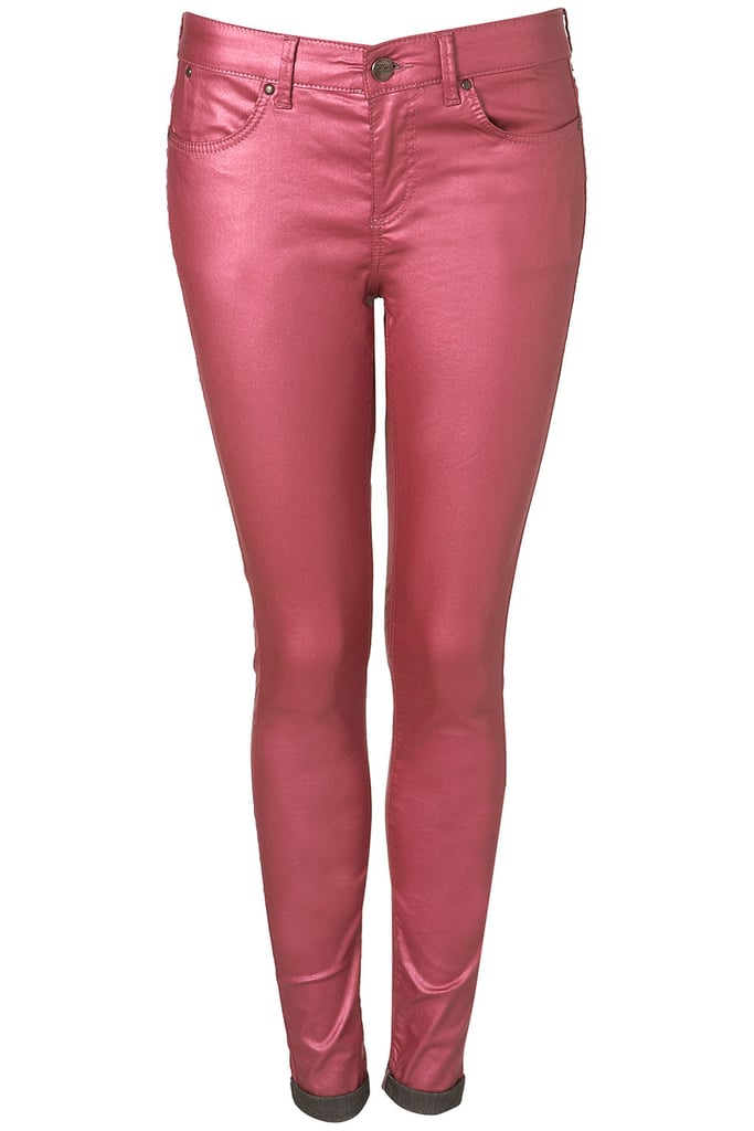 Go bright and sheen-happy with these pink high-rise skinnies. MOTO Pink Metallic Leigh Jeans ($90)