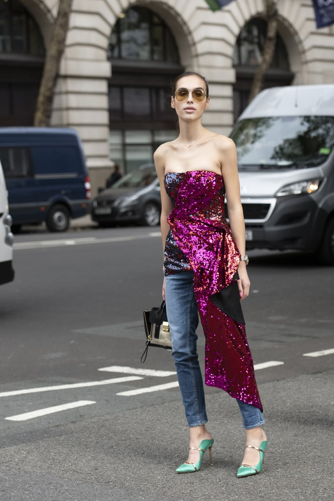 Wear a Sequinned Dress Over Jeans