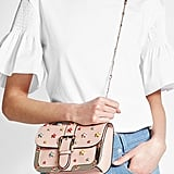 R.E.D. Valentino Embellished Leather Shoulder Bag With Gold-Tone Frame