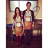 Lucy Hale smiled with her Pretty Little Liars costar Ian Harding in costumes. Source: Instagram user lucyhale