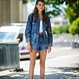 Denim on denim doesn't have to stop come end-of-Summer. Consider a pair of jean shorts and a trucker jacket to keep that Canadian tuxedo going strong.