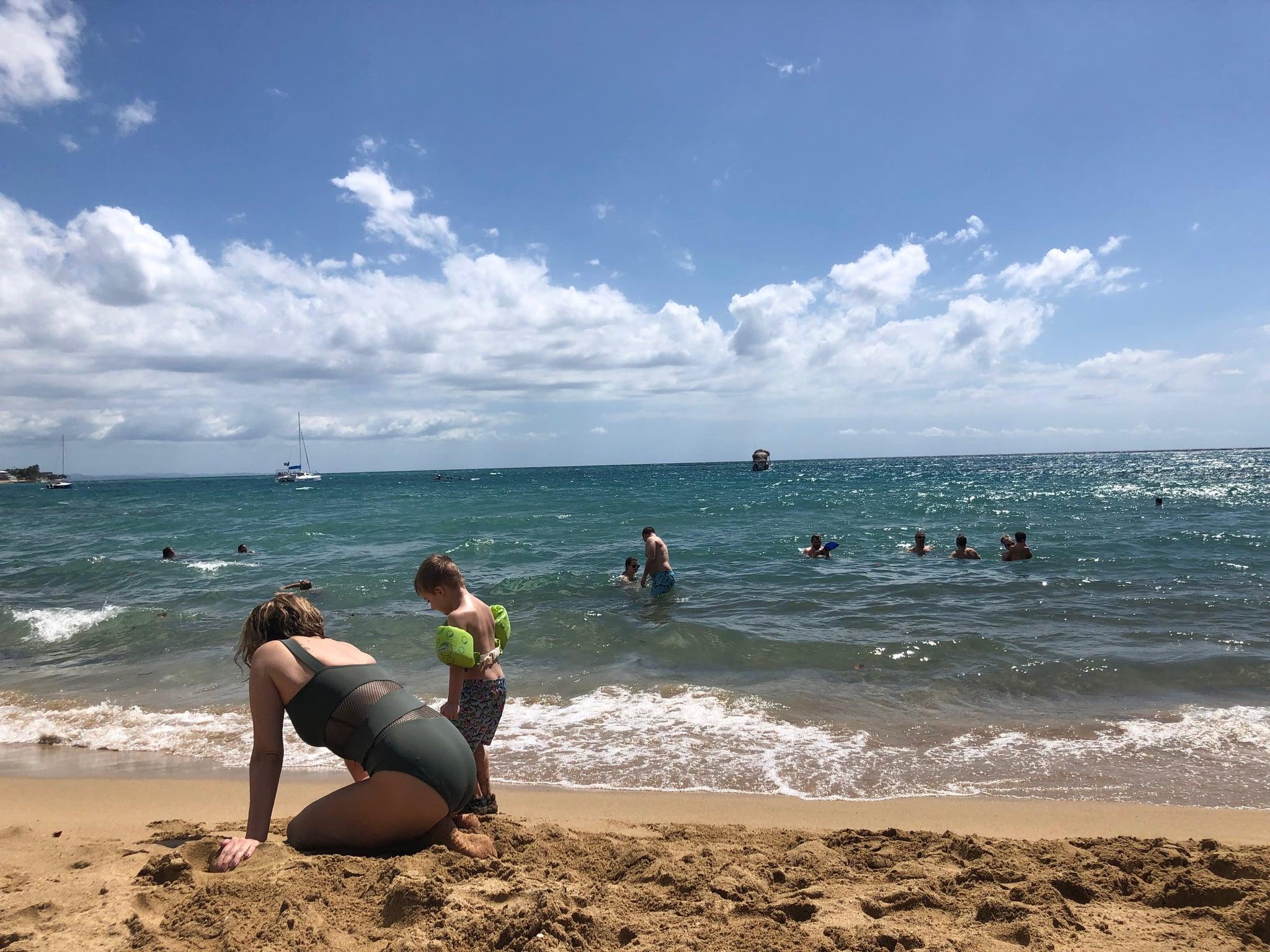 Mom on Beach with Grandson