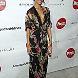 Zoe in exotic florals at People Espanol's 50 Most Beautiful party in '05.