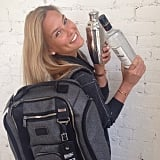 Bar Refaeli showed off a new way to stay hydrated while working out. Source: Instagram user barrefaeli