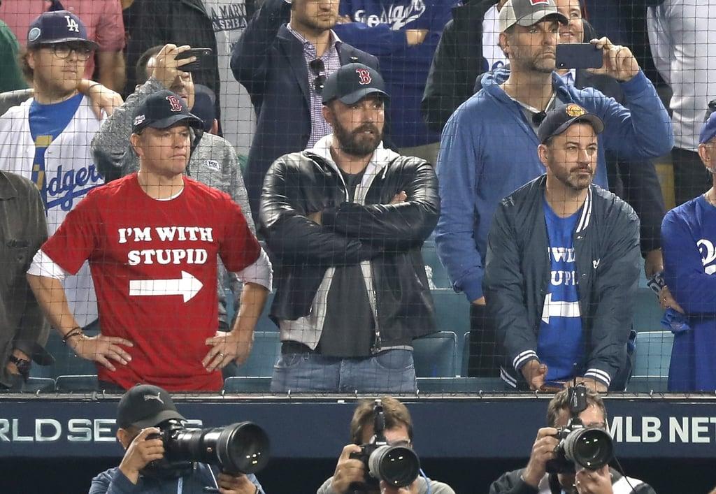 Matt Damon, Jimmy Kimmel, and Ben Affleck at World Series