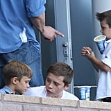 Brooklyn, Romeo, and Cruz Beckham were in the stands to watch as their dad David Beckham and the LA Galaxy took on the Portland Timbers.