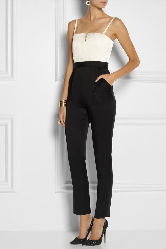 Who says you can't wear a jumpsuit to a Alice + Olivia Arrow Two-Tone Boned Satin Jumpsuit ($495) will look just as chic.
