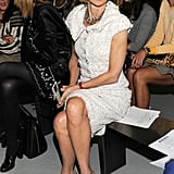 Anna Wintour took her front-row seat at Rodarte in a bouclé sheath.