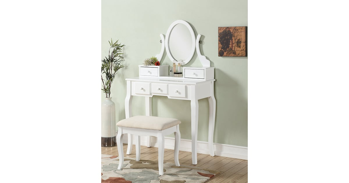 Roundhill Furniture Ashley Wood Vanity Table And Stool Set