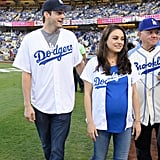Ashton Kutcher and Mila Kunis at LA Dodgers Game Oct. 2016