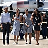 The first family walked to Air Force One in Merced County, CA, during a trip in June 2016.