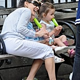 Sarah Jessica Parker and her daughters Loretta Broderick and Tabitha Broderick relaxed on a park bench with popsicles while out in NYC.