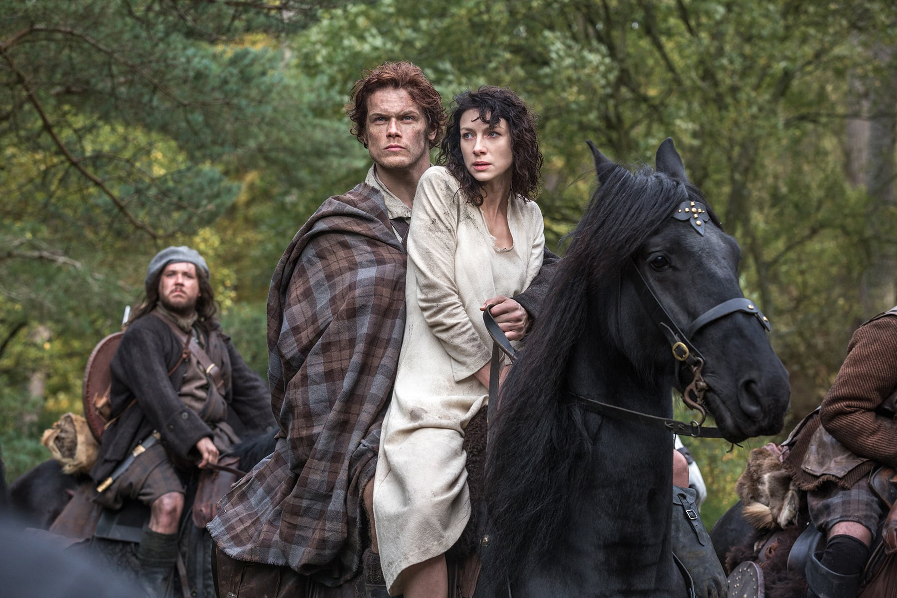 Claire takes a ride with Jamie.  Courtesy of Starz