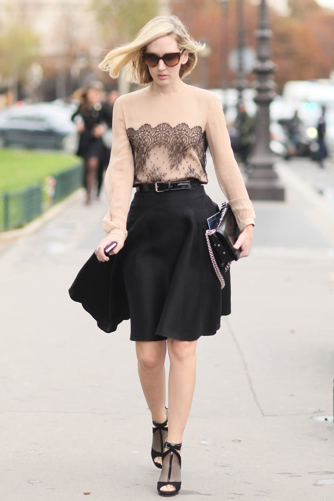 The prettiest touch of nude and black lace gave this full skirt a beautiful finish.