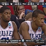 Meanwhile, the Duke bench looked something like this.