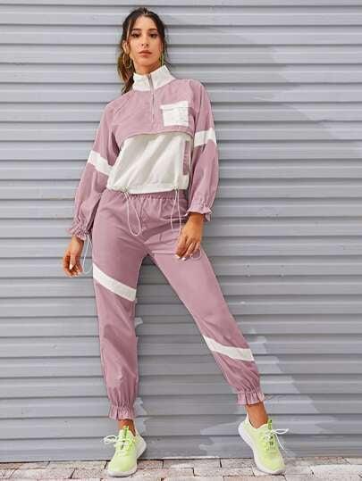 Shein Contrast Panel Drawstring Windbreaker Jacket & Sweatpants