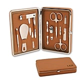 The problem with manicure sets is that they can either look too feminine or masculine — or even a bit chintzy. Such is not the case with this streamlined, tan-colored Portable Leather Manicure Set ($90), which can be personalized with up to five characters.