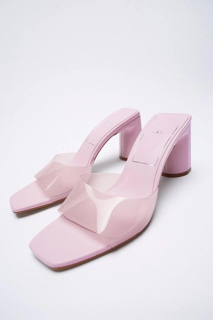 A Fun Colorful Pair: Zara Wide Heeled Vinyl Sandals