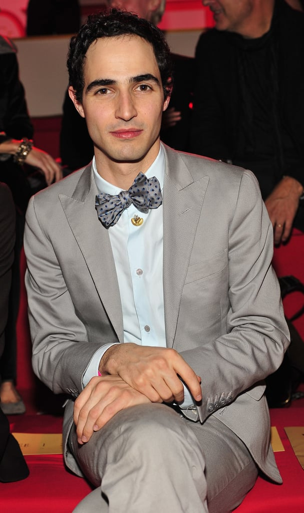 Zac Posen sat front row in his signature bow tie in 2010.