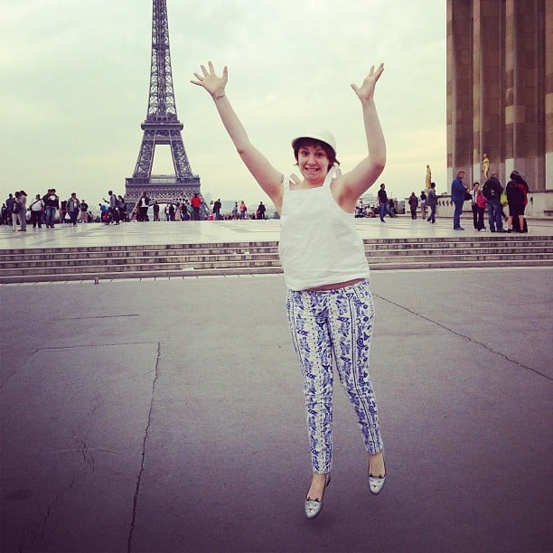Lena Dunham jumped for joy while checking out the Eiffel Tower in Paris. Source: Instagram user lenadunham