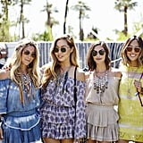 Rebecca Cohen, Dani Song, Danielle Snyder, and Aimee Song showed off their boho style at the Dannijo x LoveShackFancy brunch wearing LoveShackFancy and Dannijo jewels.