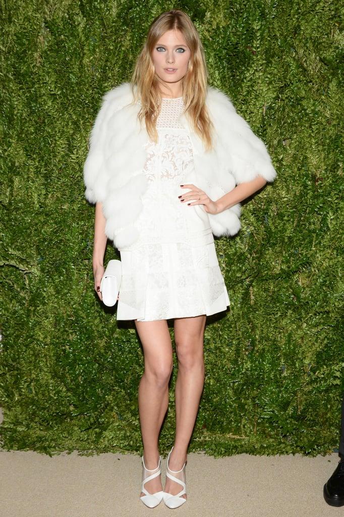 Constance Jablonski in J. Mendel at the CFDA/Vogue Fashion Fund Awards.