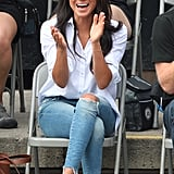"""Meghan's tortoiseshell sunglasses are described by the brand as """"the most wearable shape in the collection,"""" and she definitely pulls them off."""