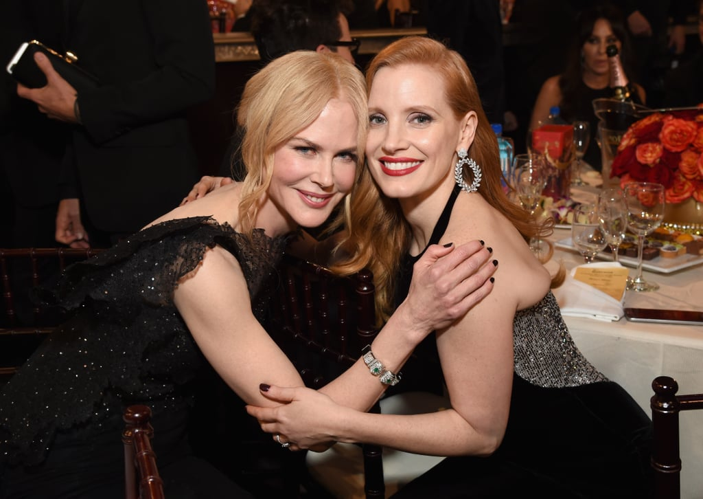 Nicole Kidman and Jessica Chastain posed for a glamorous shot at the 2018 Golden Globes.