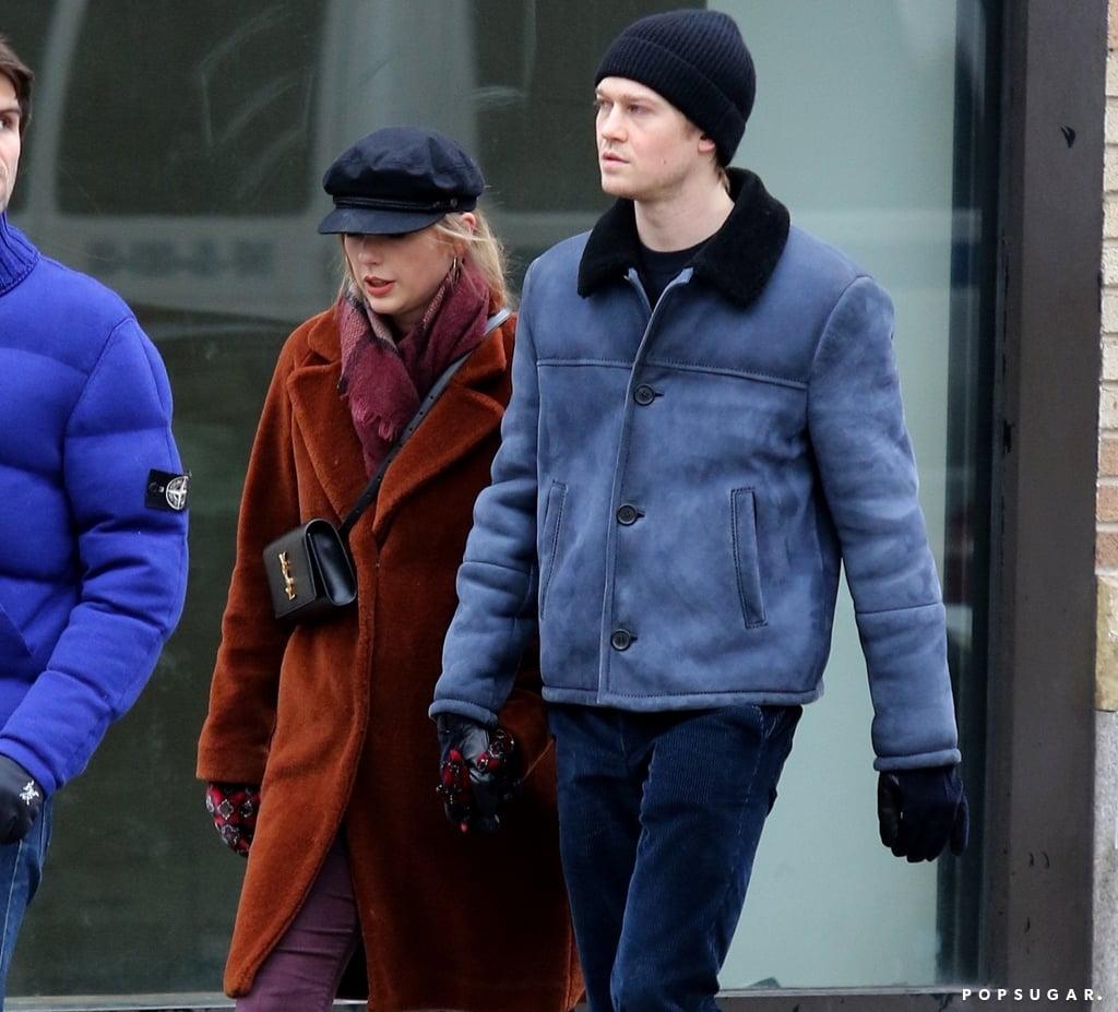 Taylor Swift YSL Bag and Furry Coat With Joe Alwyn
