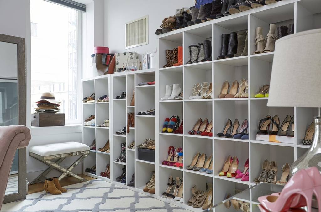"This fashionista's shoe collection is something to behold. When we asked Arielle what her philosophy was for storing accessories, she — not surprisingly — told us, ""Show them off instead of hiding them away in the closet!"""