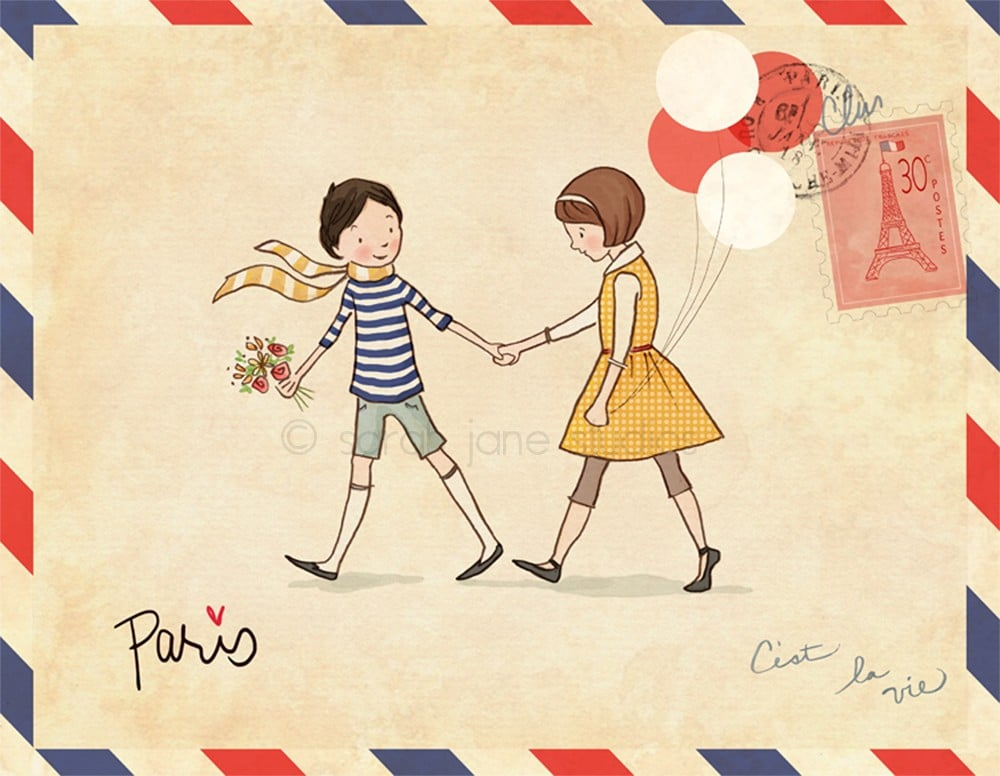 Add a touch of Parisian romance to your tot's space with the charming, vintage-inspired Boy and Girl in Paris print ($26).