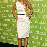 Wearing a Black Halo white dress to the CW Network Upfront in 2006.