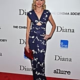 Naomi Watts was at her best at the Cinema Society screening of Diana in Michael Kors's bold print and equally striking cutout. The pop-of-color Roger Vivier clutch and Harry Winston diamonds added extra impact to the striking gown.