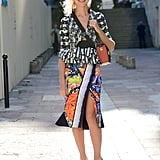 Natalie Joos made her way around Paris Fashion Week shows in head-to-toe Peter Pilotto in September 2012.