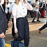 Elle Fanning Carrying a Miu Miu Denim Tote Bag