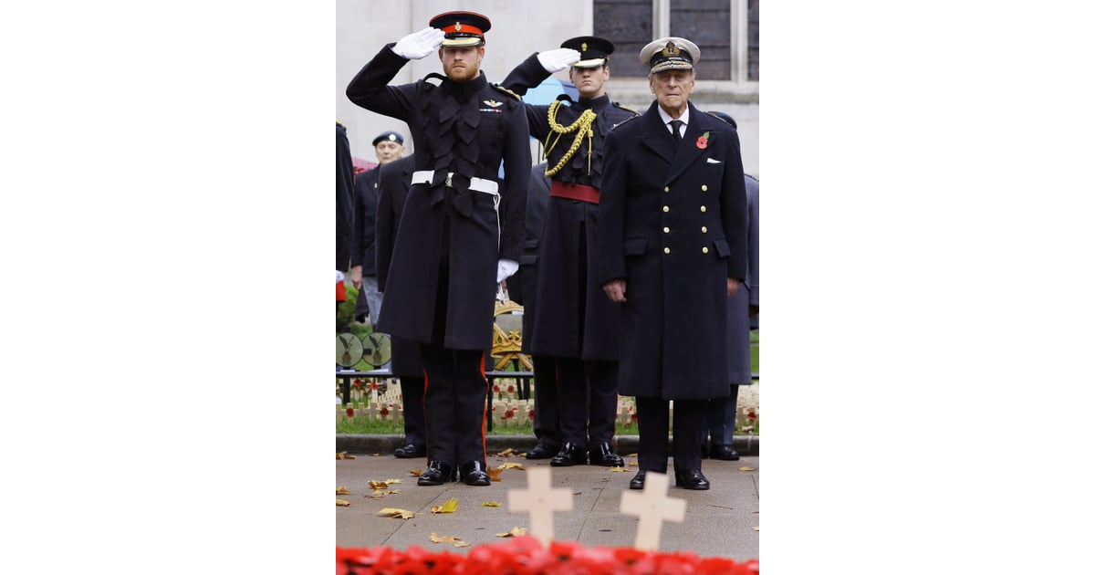 Harry And Philip Stood Side By Side During A Remembrance