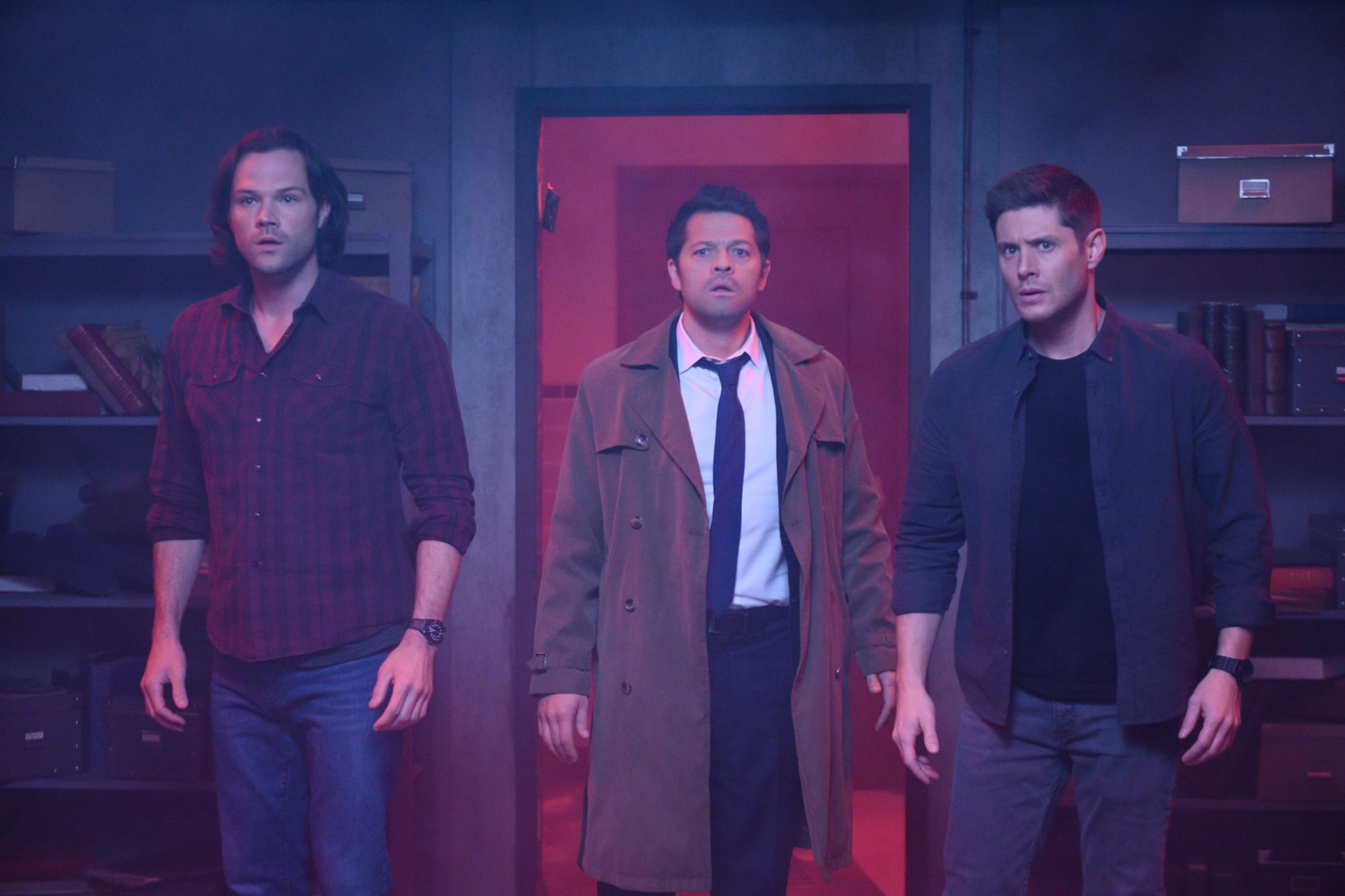 SUPERNATURAL, Jared Padalecki, Misha Collins, Jensen Ackles in 'Jack in the Box', (Season 14, Episode 1419, aired April 18, 2019), ph: Diyah Pera / The CW / Courtesy Everett Collection