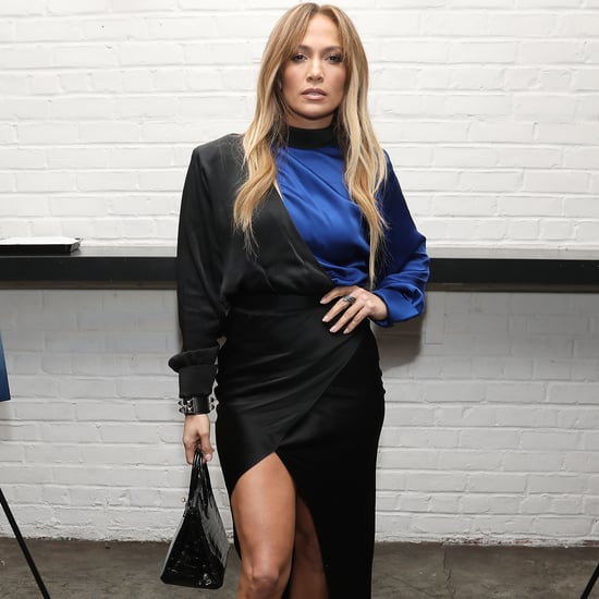 Jennifer Lopez Black and Blue Dress With Leg Slit 2018