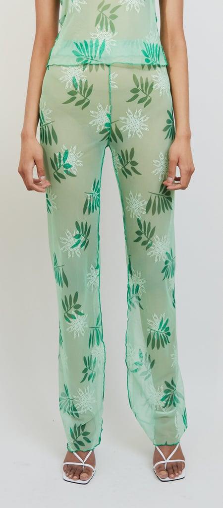 Kim Shui Sheer Plant Print Mesh Pant