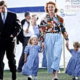 Sarah held hands with her girls at a horse show in 1992, not long after the palace announced that she and Andrew were separating.