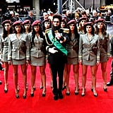 Sacha Baron Cohen posed with his female cast members on the red carpet.