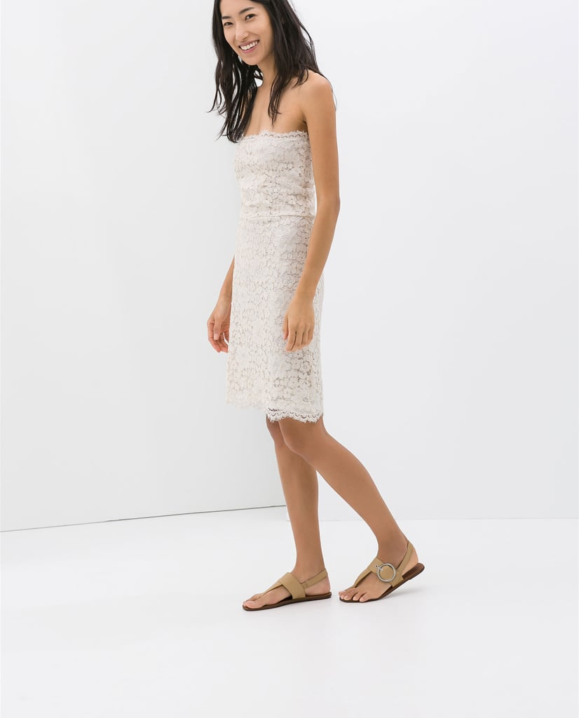 Zara White Lace Strapless Dress
