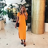 A Bright-Colored Maxi and Black Sandals