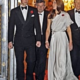 Wearing Jenny Packham to a reception at St. James's Palace in November 2011.